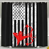 Bow Hunting Outdoors USA Flag Pride Shower Curtain Fabric Bathroom Shower Curtain Set,72x60 Inch
