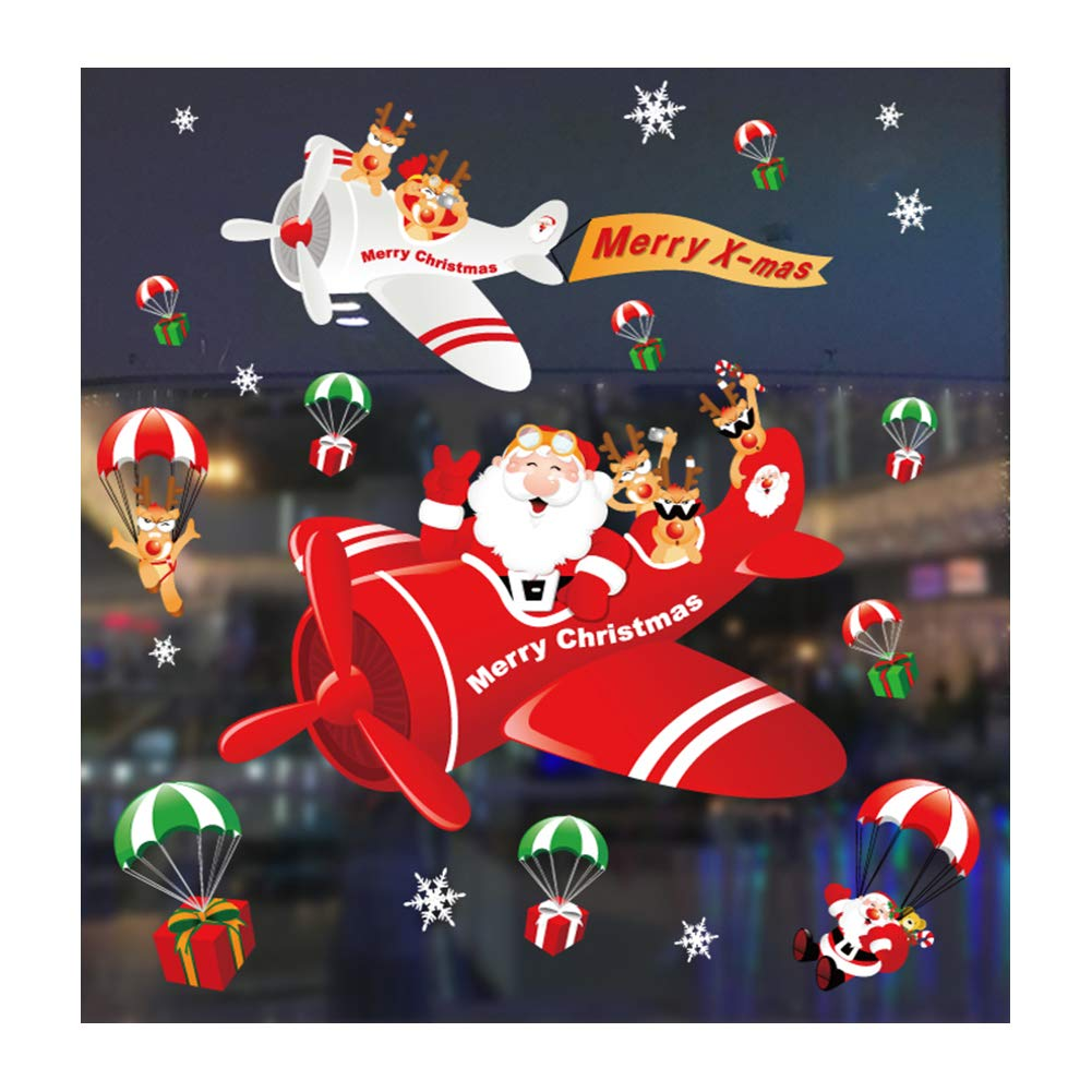 TREESTAR Navidad Serie Vidrio Etiqueta Copo de Nieve arreglo de Navidad Puerta y Ventana Pegatinas Pegatinas de Pared Decorativos