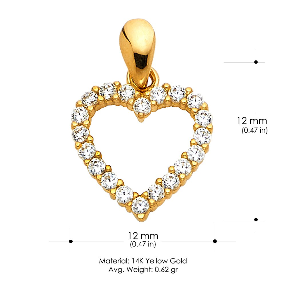 14K Yellow Gold Open Fancy Heart Round Cut Cubic Zirconia CZ Charm Pendant For Necklace or Chain