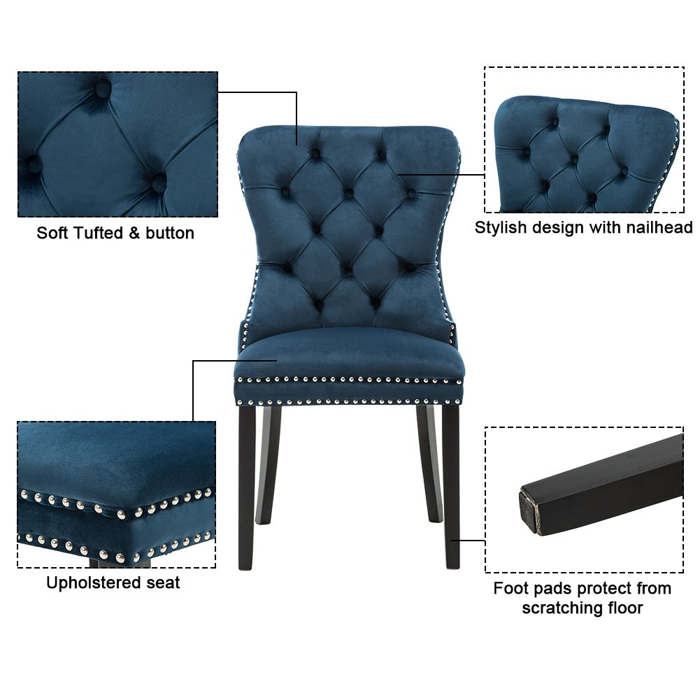 Elegant Tufted Upholstered Dining Chairs, Retro Velvet Dining Room Chair Set of 2 with Nailed Trim & Black Curved Rubber Wood Legs for Dining Room, Kitchen, Living Room, Bedroom & Patio(Navy Blue)