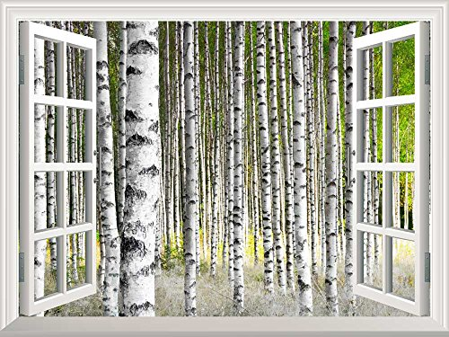 Removable Wall Sticker Wall Mural Birch Trees in Bright Sunshine in Late Summer Creative Window View Wall Decor