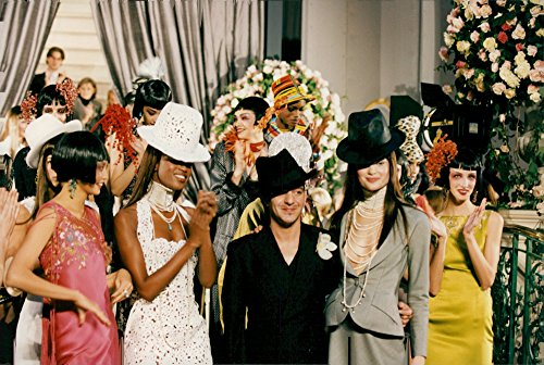 Vintage photo of John Galliano along with the models at his Haute Couture fashion (Vintage Haute Couture)