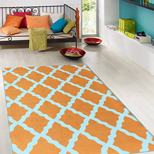 Ottomanson Glamour Collection Contemporary Moroccan Trellis Design Kids Lattice Area Rug (Non-Slip) Kitchen and Bathroom Mat Rug, 5'0