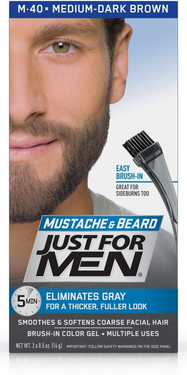 Just for Men Brush-In Color Gel for Mustache Beard & Sideburns Medium-Dark Brown M-40 Mustache Beard and Sidburns