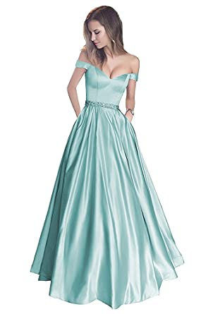 PearlBridal Womens Off The Shoulder A-line Long Evening Prom Dress Formal Gowns
