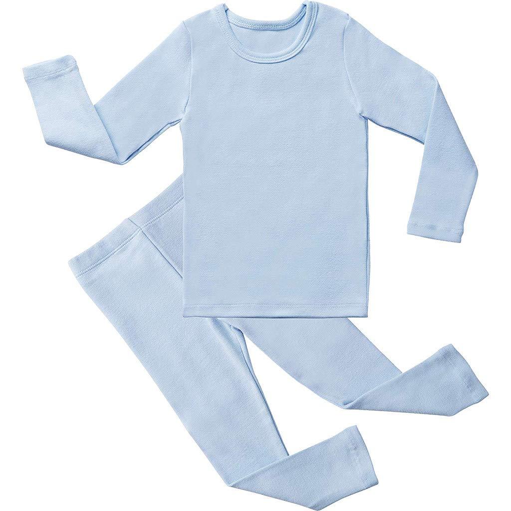 2pcs Toddler Baby Sleepwear, Summer Spring Boys Girls Long Sleeve Solid Tops+Pants Pajamas Sleepwears Outfits (4-5 Years, Blue)