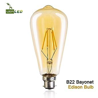 Vintage Edison LED Bombillas ST64 4 W ámbar color, vidrio metal, B22, B22d