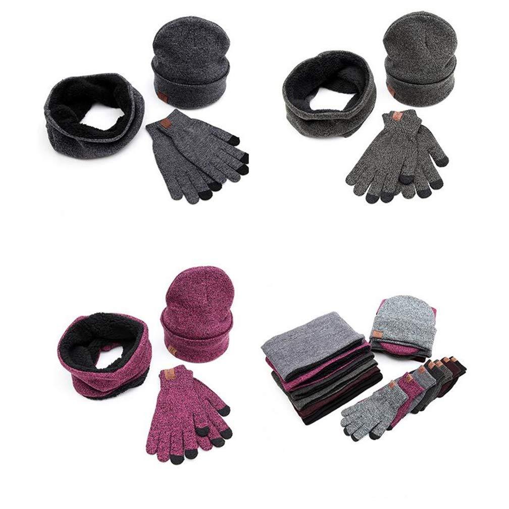 Queta invernale sciarpa cappello guanti tre pezzi di lana cappello touch-screen guanti moda set regalo Rosy