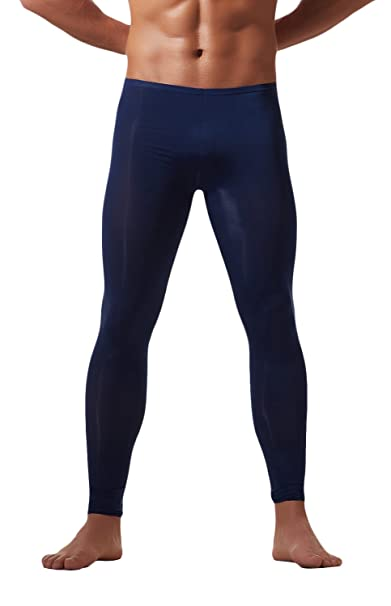 "5159b0098717d WUAMBO Men's Fashion Thermal Bottoms Men Warm Long Johns Deep Blue M  (Waist:24"""