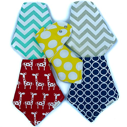 Ultimate Bandana Bib by Regaroo – Cotton Front & Fleece Back with Adjustable Snaps 0-24 Months (5 Pack Set)