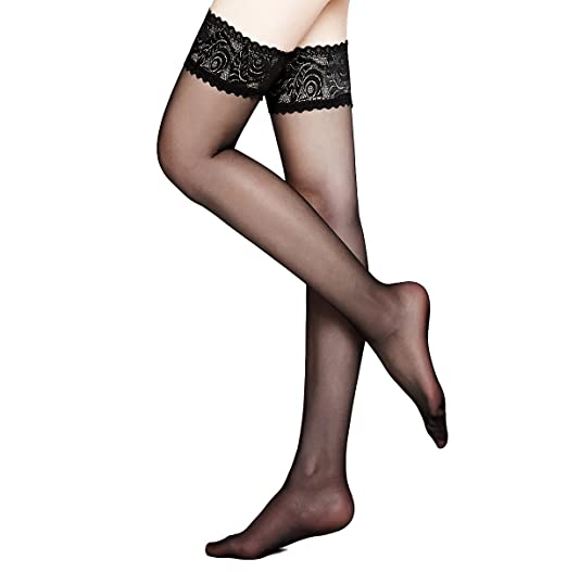 a85b148d46cf2 Moochi Women 20 Denier Ultra Sheer Thigh High Stockings with Silicone Lace  Top (Black)