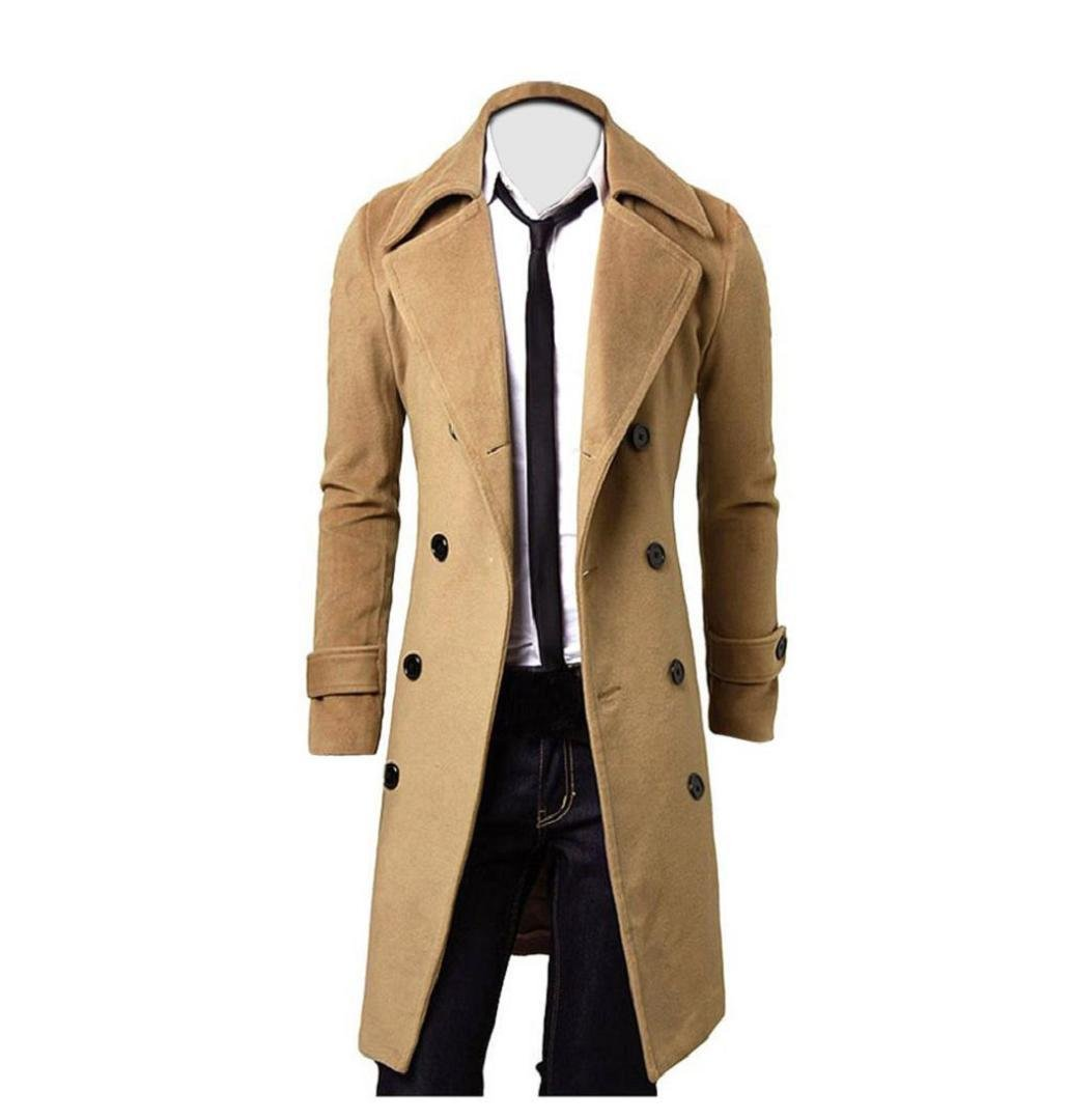 Männer Jacke Slim Stylish Trench Coat | ZEZKT-Herren Double Breasted Lange Jacke Parka Mäntel Zweireiher Winter Casual Übergangsjacke Männer Lang Wollmantel (M, Khaki) ZEZKT3693