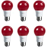 Philips LED Red Bulb 6 Pack, 60 Watt Equivalent, A19 Non Dimmable, Medium Screw Base