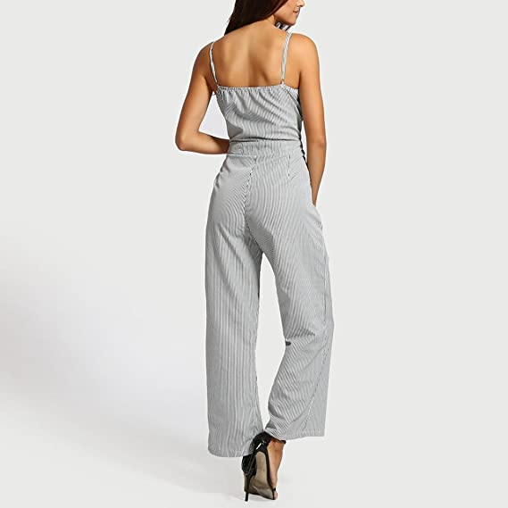 5d360d2ff45b Jumpsuits Women Jamicy Ladies Striped Bowknot Strap Summer Holiday High  Waisted Beach Wide Leg Pants Playsuit  Amazon.co.uk  Clothing