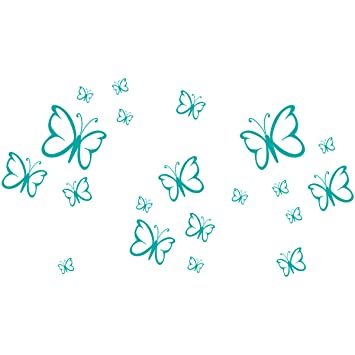 Wandkings Wandtattoo U0026quot;Schmetterlinge Im Set, 20 Stücku0026quot; In Türkis    Erhältlich In