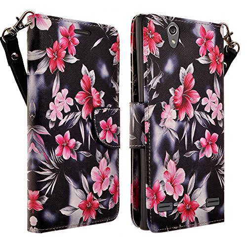 HTC Desire 626 / 626s Case - Magnetic Leather Folio Flip Book Wallet Pouch Case Cover With Fold Up Kickstand and Detachable Wrist Strap for HTC Desire 626 / 626s (Pink Flower)