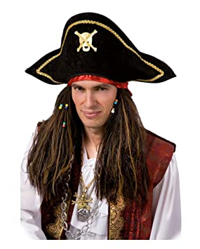 Rasta Pirate Wig with Pirate Hat (peluca)
