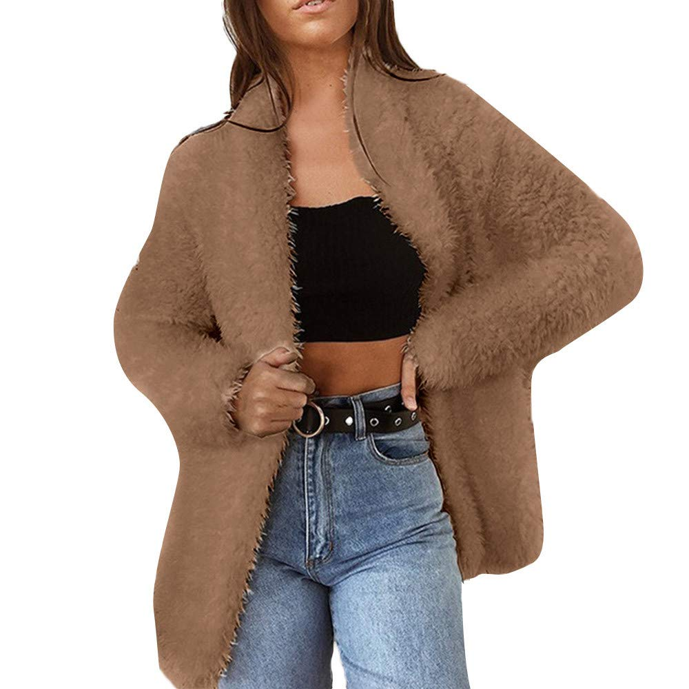 Preferential New Zlolia Women Fashion Solid Color Long Sleeve Coat Wool Cardigan Suit Winter Warm Coat