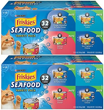 Purina Friskies Seafood Wet Adult Cat Food Variety Pack – 32 5.5oz, 2-Pack