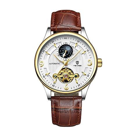 Homyl Reloj Mecánico de Pulsera Elegante Matreriales de Regalo para Deportista Duradero - marrón-blanco