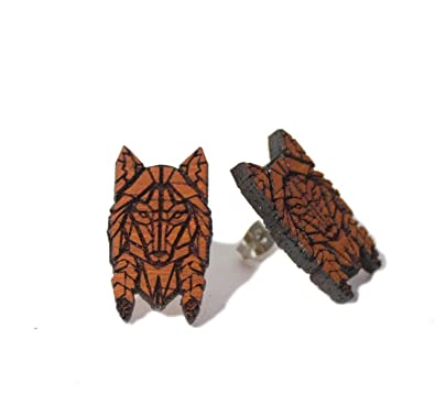 562c651d4f6bea Amazon.com  GoodWood NYC Fractal Wolf Studs Blood Wood  Jewelry