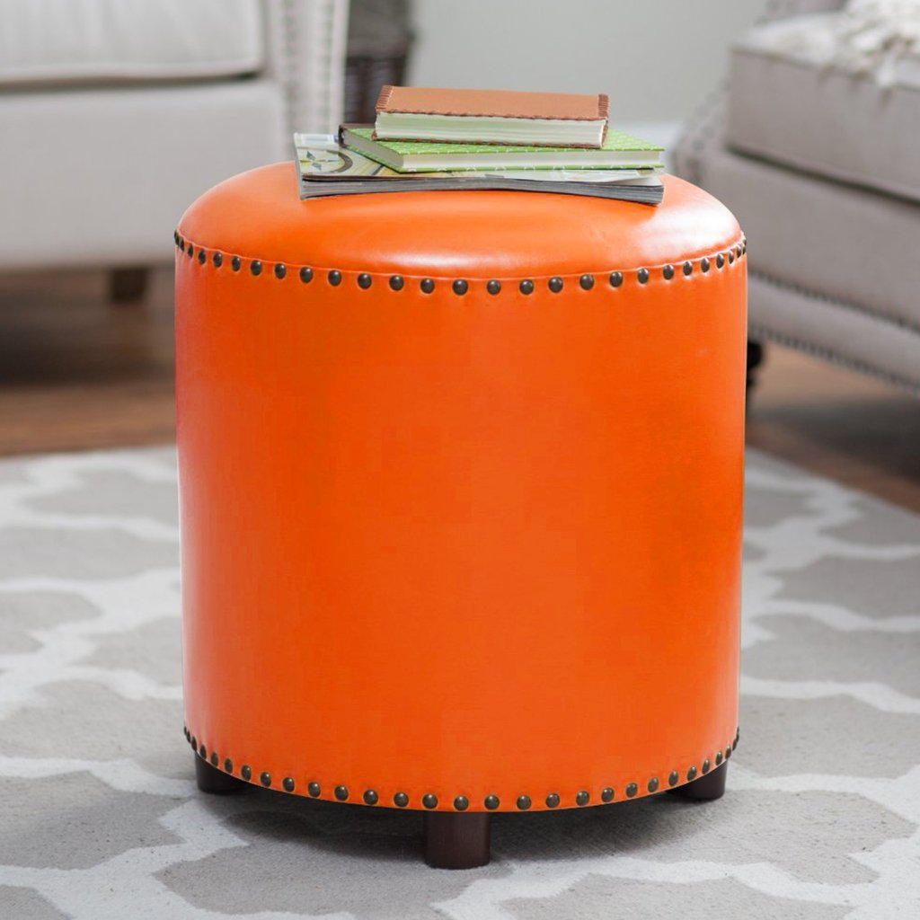UUSSHOP Wood Seating Footstool Footrest Ottoman Pouffe Round Chair Foot Stool with Luxury Oil Wax Leather Cover, Handcrafted Rivets Edge-Sealing (Orange)