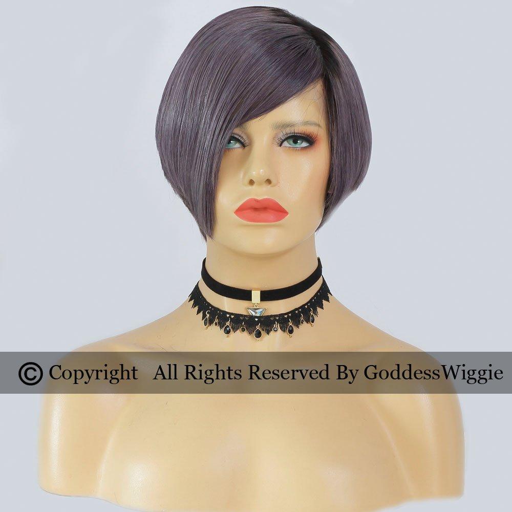 Ombre Dark Dust Purple Short Cut Full Lace Wigs Human Hair Short Bob Lace Wigs (150density)