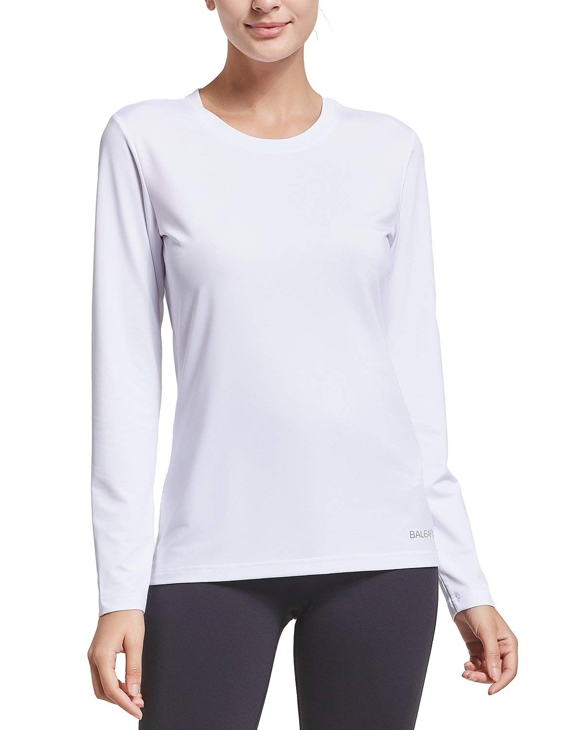 BALEAF Women's Long Sleeve T-Shirt Quick Dry Running Workout Shirts White Size XS by BALEAF