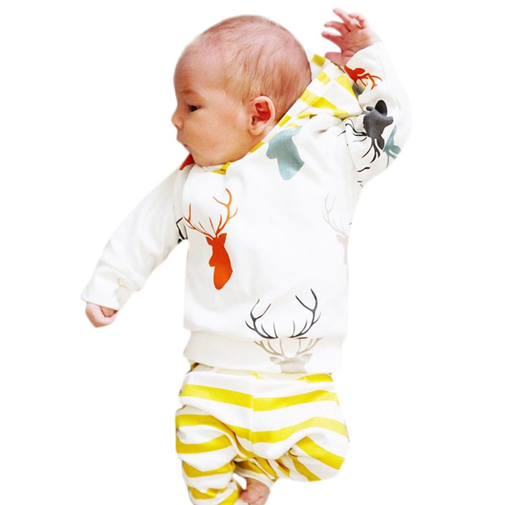 FIged Baby Winter Clothes, Clever Deer Animal Print Long Sleeve Striped Outfit