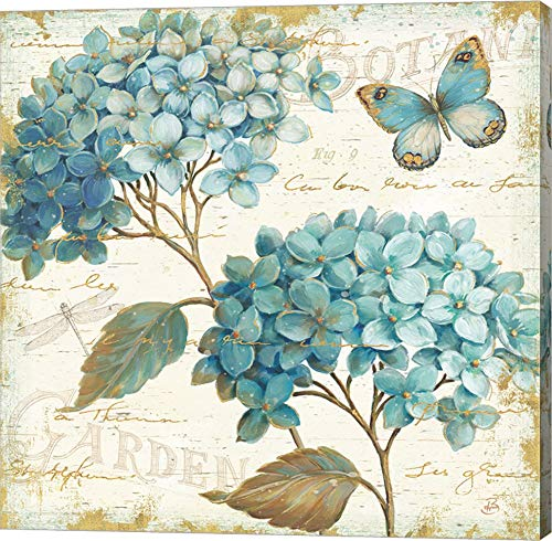 Blue Garden V by Daphne Brissonnet Canvas Art Wall Picture, Gallery Wrap, 14 x 14 inches