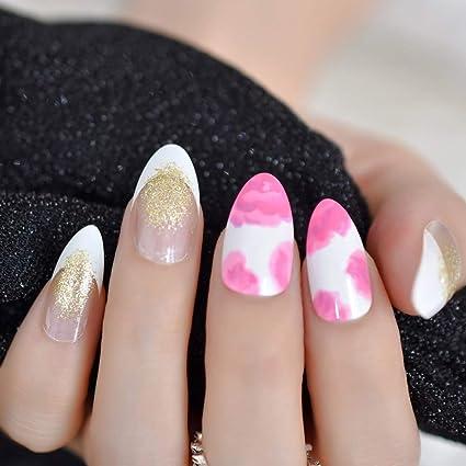 EchiQ - 24 uñas postizas de acrílico con diseño de flores rosas ...