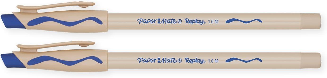Penna a sfera cancellabile Bo/îte de 12 Turquoise blu Paper Mate Replay