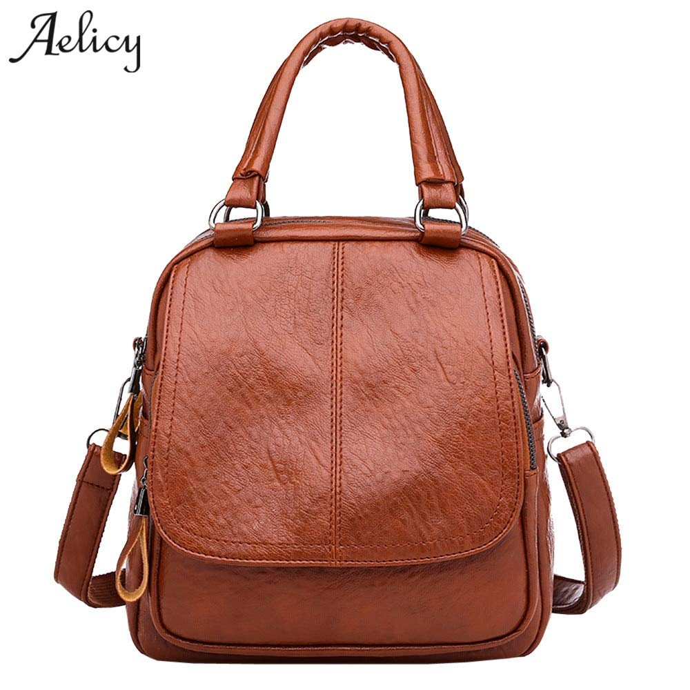 Amazon.com  DingXiong 2018 Solid PU Leather Backpack Women Designer School  Bags for Teenagers Girls Luxury Backpacks  Garden   Outdoor bff2b104e1be8