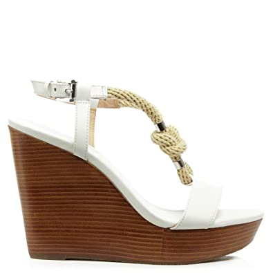 80cb36eff6 Michael Kors Holly White Leather Rope T-Bar Wedge Sandal 40 White Leather