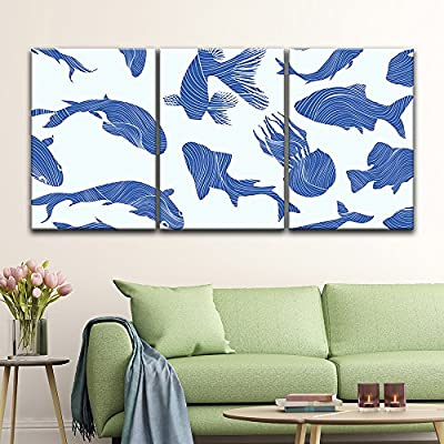 3 Panel Canvas Wall Art - Abstract Blue Fish Pattern - Giclee Print Gallery Wrap Modern Home Art Ready to Hang - 16