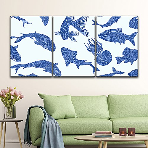 3 Panel Abstract Blue Fish Pattern x 3 Panels