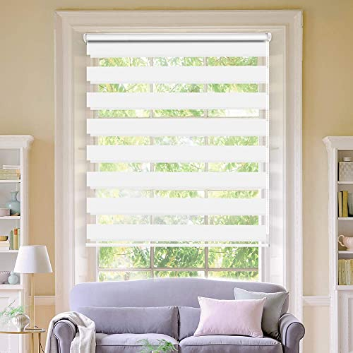 LUCKUP Horizontal Window Shade Blind Zebra Dual Roller Blinds Day and Night Blinds Curtains Easy to Install 39.4 x 90 , White