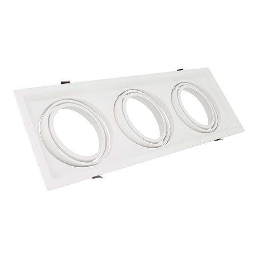 Aro Downlight Cuadrado Basculante para tres Bombillas LED AR111 Blanco efectoLED