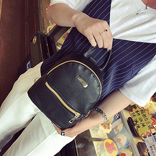 XENO-New Women Girl Backpack Travel PU Leather Handbag Rucksack Shoulder School Bag(black)