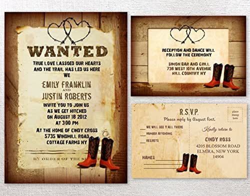 Wedding Invitations Country Theme: Amazon.com: Cowboy Western Rustic Country Themed Wedding