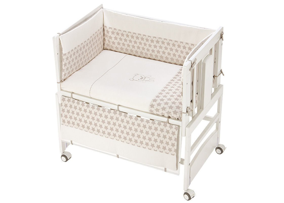 Kinderbett, Co-Sleeping Allegra mit Motte Kenny beige