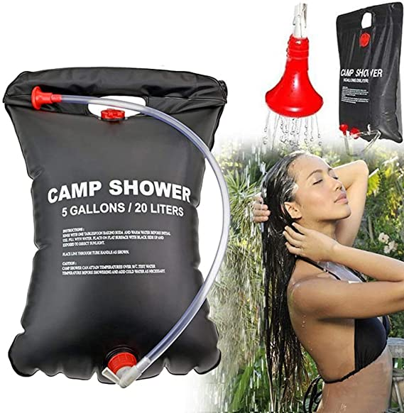 Bolsa de Ducha de PVC con calefacci/ón Solar 20 L para Senderismo y Camping Ligera y port/átil para Acampar al Aire Libre