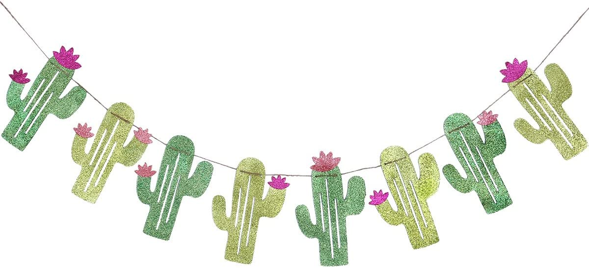 Tinksky Summer Theme Wedding Parties Decorations Single Sided Cactus Banner Pennant Tropical Party Birthday Party Festival Luau Hawaii children's party Decoration