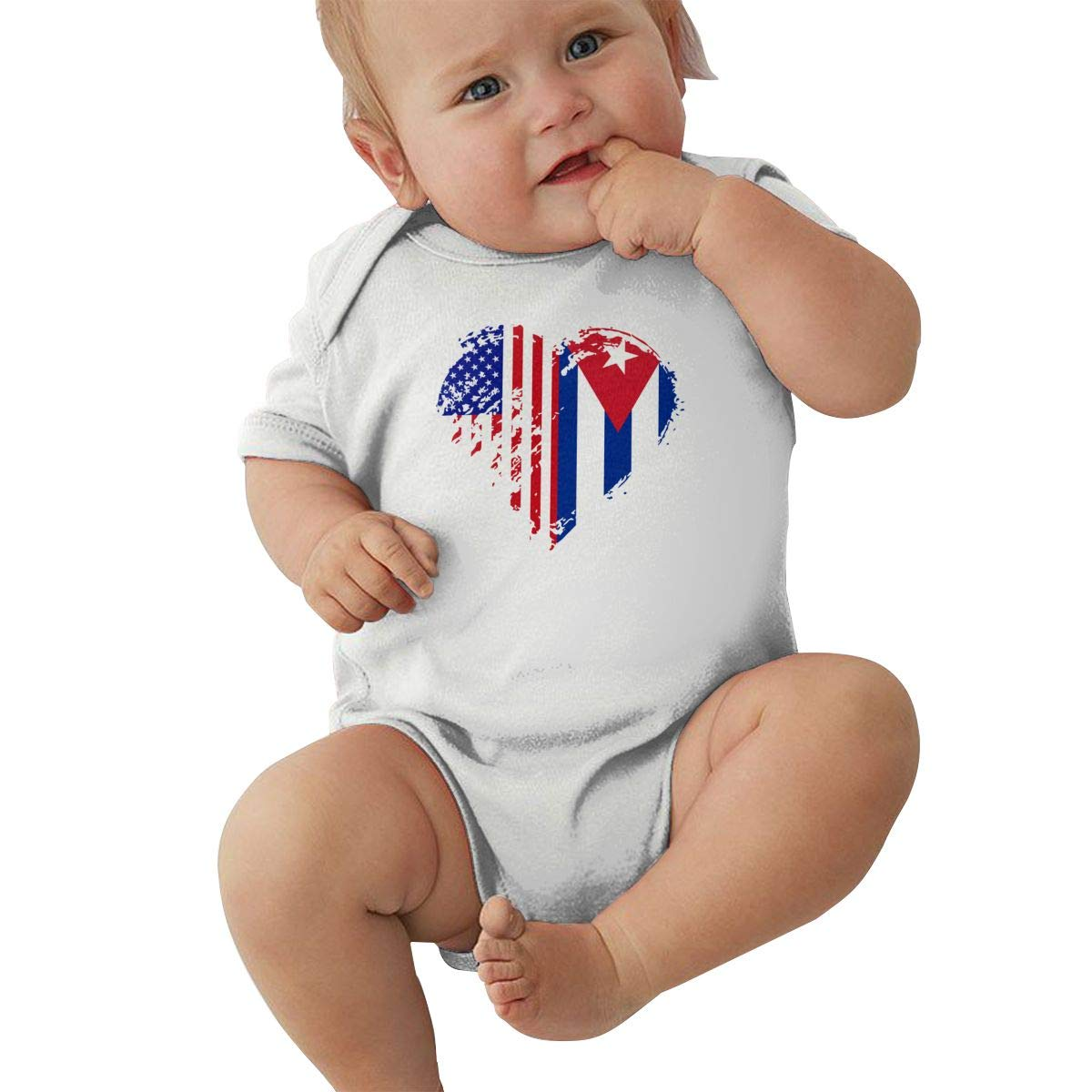 Mri-le2 Newborn Baby Short Sleeve Organic Bodysuit Grungy Cuba American Flag Heart Baby Rompers