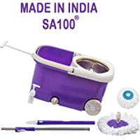 SA100® (UNBREAKABLE) Steel Purple Spin Mop Mop Bucket with 2 Refill