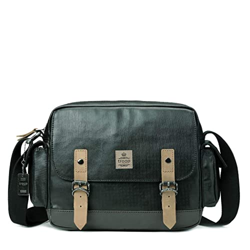 f0540fe52 Troop London Canvas Leather Messenger Bag, Tablet Friendly TRP0450 (Black)