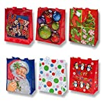 Reusable Christmas Tote Gift Bags With Handles Large Holiday Party Favor Bags, 12 Pack By Gift Boutique