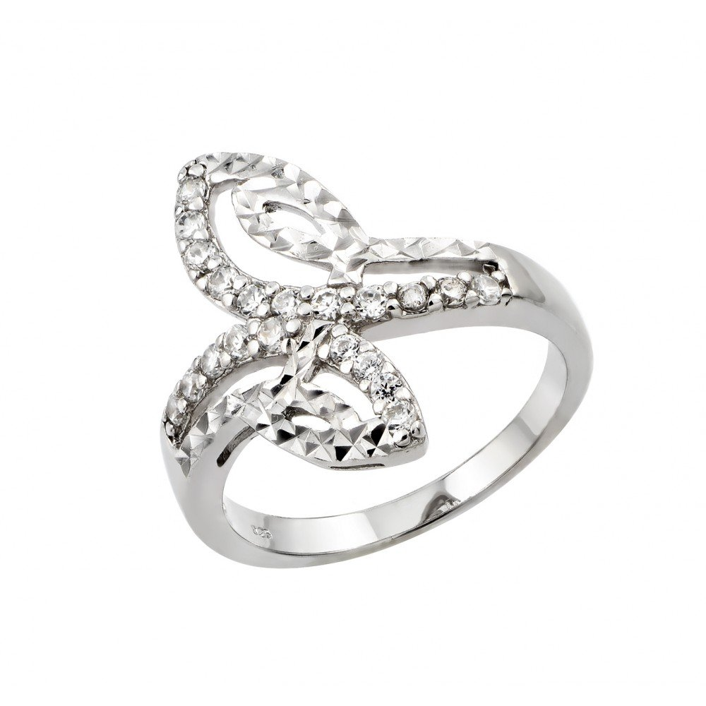 Clear Cubic Zirconia Decorative Filigree Ring Rhodium Plated Sterling Silver