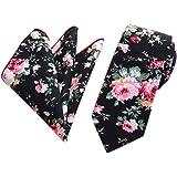 Secdtie Men's Skinny Handkerchief Tie Cotton Floral Necktie & Pocket Square Set
