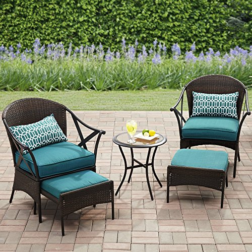 Leisure Accents Bistro - Outdoor 5-Piece Patio Leisure Set, All-Weather Wicker, Durable and Long Lasting Steel Frame Construction, Tempered Safety-Glass Table Top, 4 Polyester Pillows, 2 Lumbar Pillows, Blue Finish